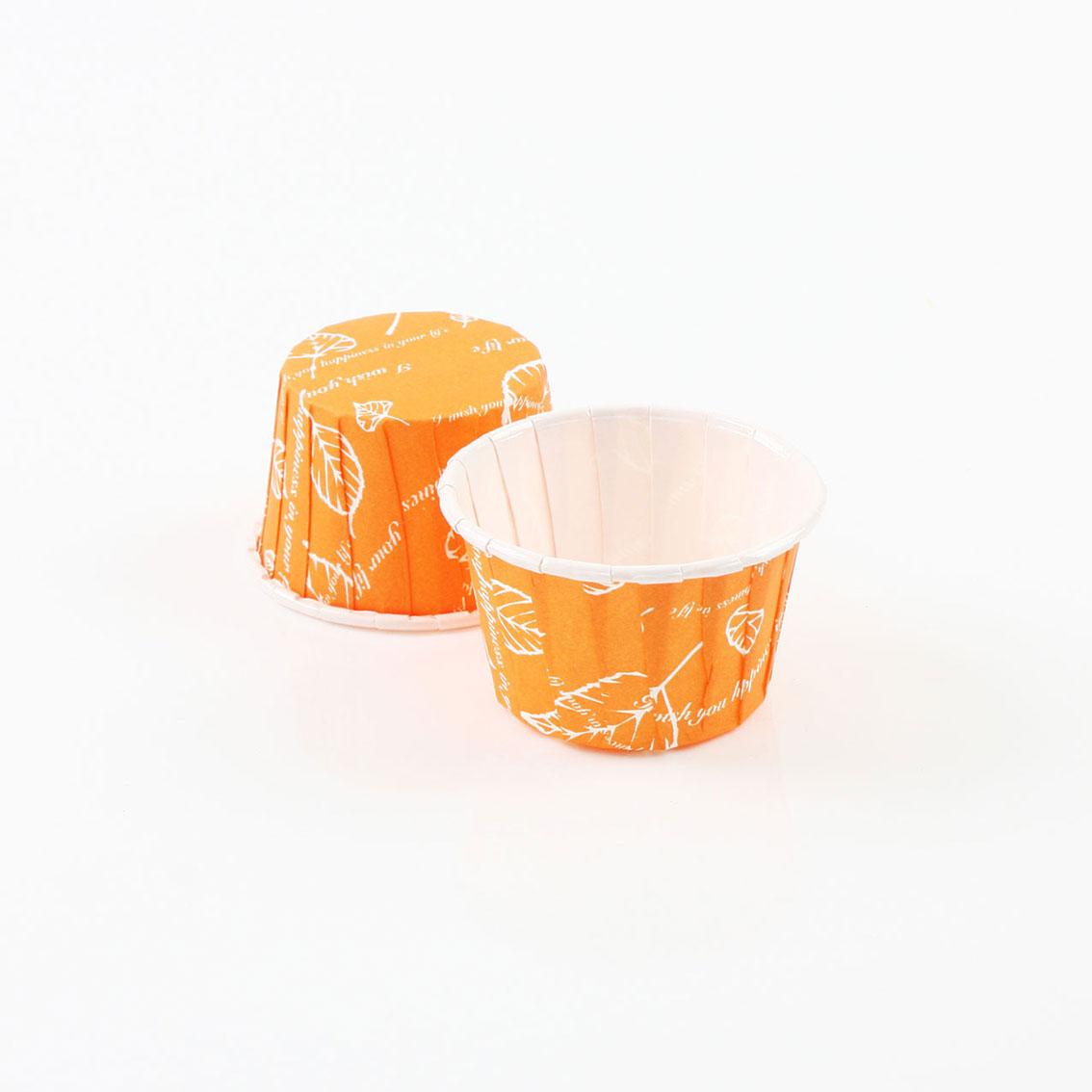 瑪芬杯、杯子蛋糕、捲口杯 PET3830-09 樹葉橘(100pcs/包)