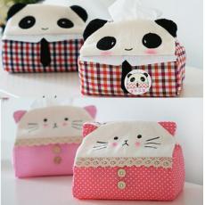 【省錢博士】可爱布藝長方形熊猫纸巾抽 貓咪纸巾盒 汽車用品 不挑款