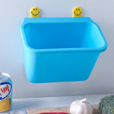 廚房桌面藍色垃圾桶 創意掛式多功能簡易垃圾桶 可水洗儲物盒子(藍色)【省錢博士】