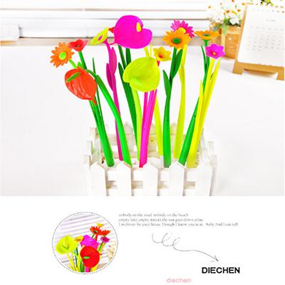 韓國新款創意植物造型文具批發可愛軟膠矽膠帶香味中性筆隨機出貨【省錢博士】 9元