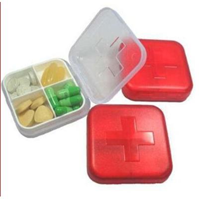 十字四格小藥盒 新款加厚可攜式保健藥盒 【省錢博士】 19元