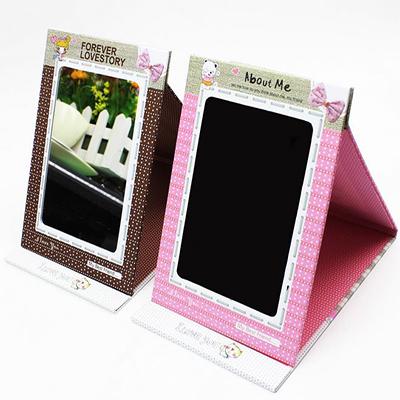 韓風手工鏡子可愛女孩點點立體摺疊相框紙鏡子【省錢博士】49元