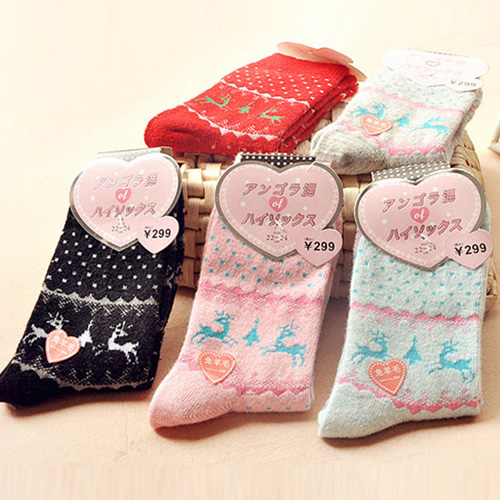 女款兔羊毛加厚保暖中筒半筒襪【省錢博士】挑款不挑色
