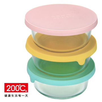 〔200℃〕矽膠蓋耐熱玻璃保鮮盒 (三入組)