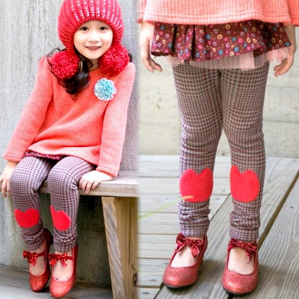 【班比納精品童裝】毛毯毛格紋膝貓咪褲-紅【BO141201007】