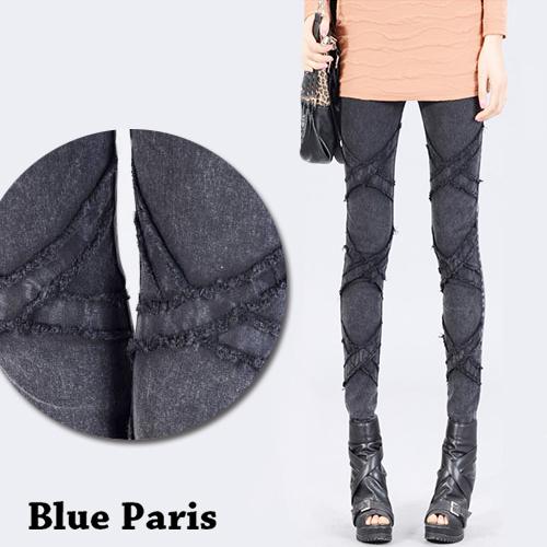 牛仔長褲 - 鬆緊腰立體X型壓線彈力窄管牛仔褲【23296】藍色巴黎 《M~XL》現貨+預購