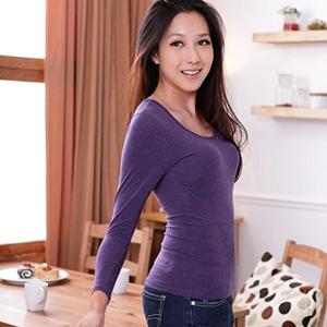 Ms.Free 免穿Bra發熱衣 日本機能型發熱紗長袖衫BRATOP - 紫色