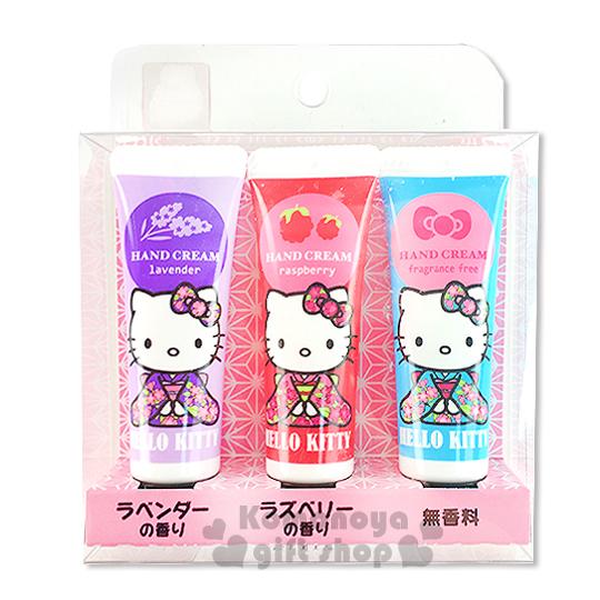 〔小禮堂〕Hello Kitty 日製香味護手霜組《3入.10ml.薰衣草/覆盆子/無香料》