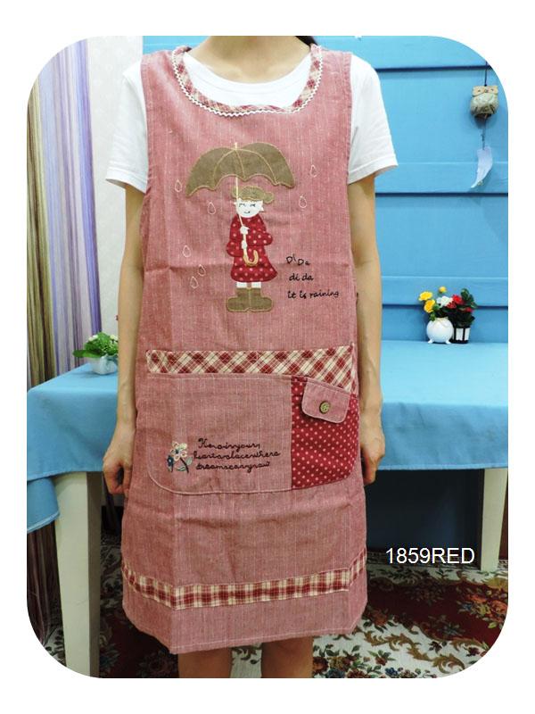 ◤彩虹森林◥《1859RED》雨天女孩 日式拼布圍裙 日式圍裙 主婦家居 幼稚園工作圍裙 工作裙