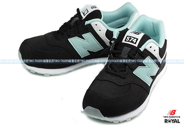 New Balance 574 黑/綠 果凍膠底 輕量 慢跑鞋 NO.R0281