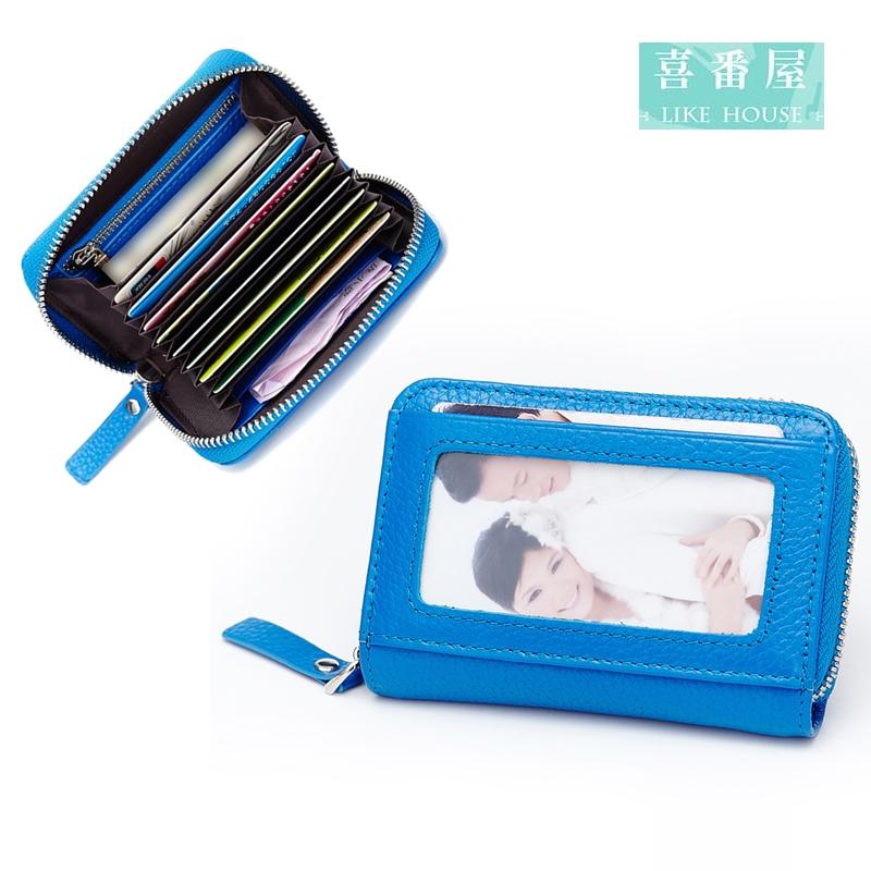 【喜番屋】日韓版真皮頭層牛皮男女通用12卡位皮夾皮包錢夾零錢包男夾女夾卡片夾卡片包卡片套卡包卡夾卡套CB123