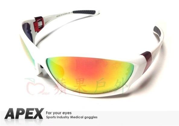【【蘋果戶外】】APEX J88 REVO 白 台灣製造 polarized 抗UV400 寶麗來偏光鏡片 彩虹鍍膜 運動型 太陽眼鏡 附原廠盒、擦拭布(袋)