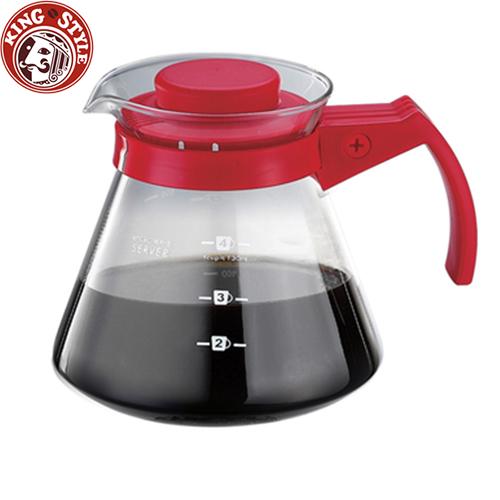 金時代書香咖啡 Tiamo 玻璃咖啡壺 450cc 紅色 弧型把手