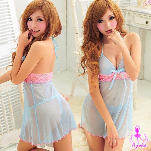 性感睡衣情趣睡衣 星光密碼【D028】透明藍色薄紗粉紅色鏤空蕾絲二件式情趣性感睡衣