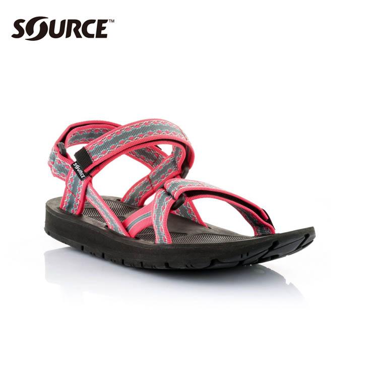 SOURCE 女越野運動涼鞋Stream101022OP【粉紅灰】 / 城市綠洲(織帶+一體成型+輕量+快乾+抑菌)