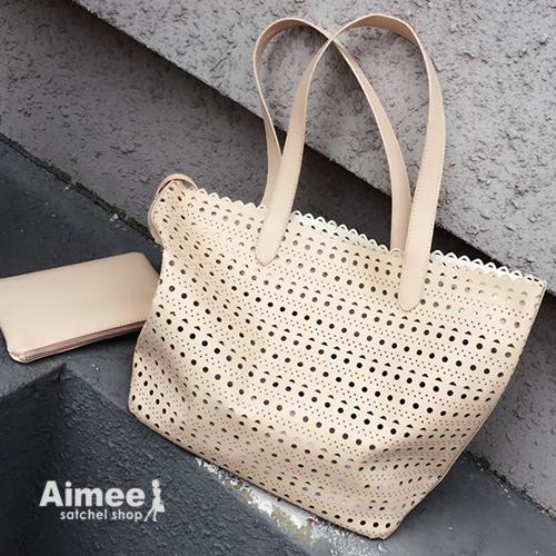 【預購】【Aimee包包屋】首爾逛街購物‧韓國超流行子母洞洞托特包‧鏤空側背包肩背包手提包媽媽包機車包購物袋民族風大包日系情人軟皮洋裝約會包