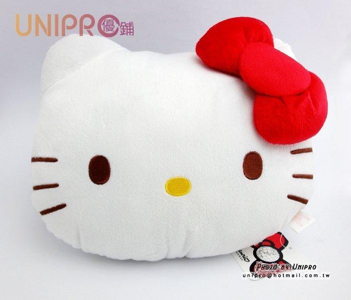 【UNIPRO】Hello Kitty 凱蒂貓 大臉 紅色蝴蝶結 頭型 午安枕 28公分 禮物 三麗鷗正版授權