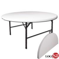 LOGIS邏爵-多用途對折160CM萬用摺疊圓桌/野餐桌/展示桌/會議桌ZY-160
