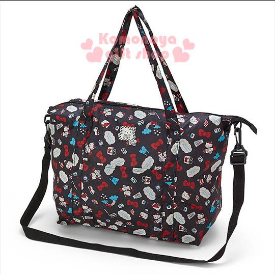 〔小禮堂〕Kitty 可折疊斜背旅行袋《M.黑.熱氣球.雲朵.滿版》可掛於行李箱桿上