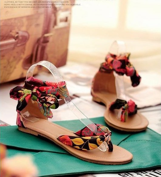 Pyf ♥ 夏日海灘 印花絲巾綁帶 平底夾腳涼鞋 42 43 大尺碼女鞋