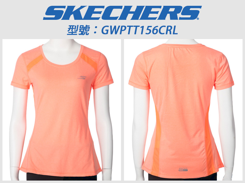 Shoestw【GWPTT156CRL】SKECHERS 運動短袖 彈性排汗衣 螢光嫩橘 透氣