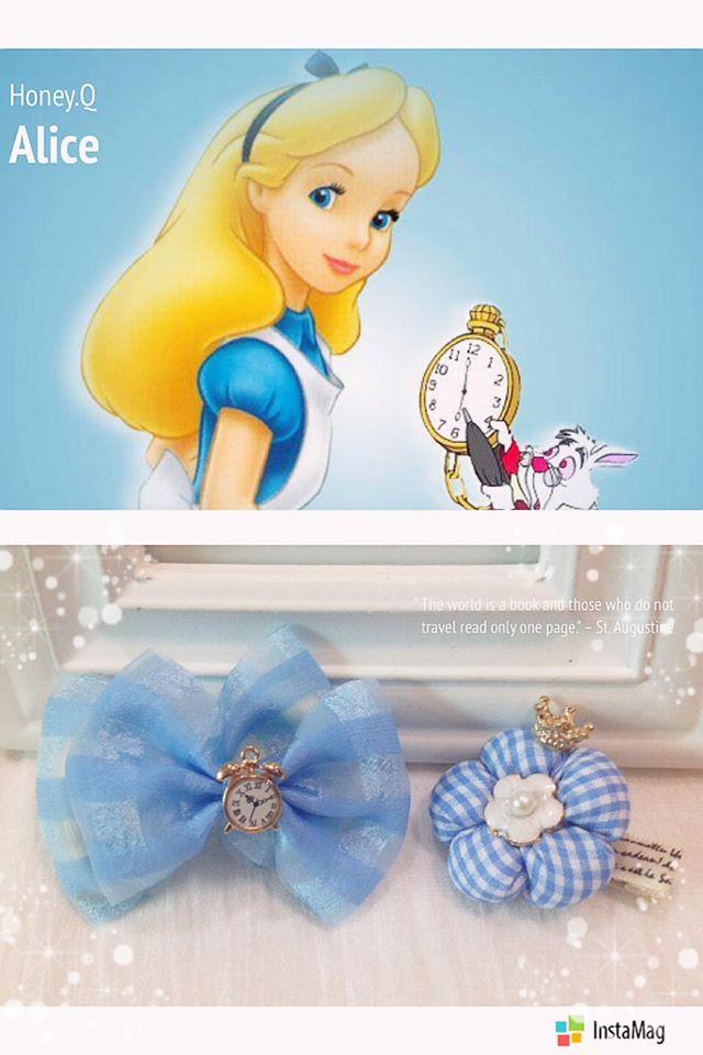 公主系列-夢遊仙境Alice愛麗絲.魔幻時鐘紗紗蝴蝶結.清新藍格皇冠Q小花.髮夾 / 髮圈