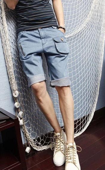 50%OFF【LT0340DP】 垮褲 新款夏青少年五分褲林彎彎韓版直筒牛仔短褲潮男裝小口袋牛仔短褲