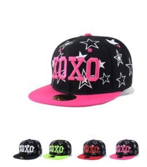 50% OFF【C03293H】韓國版EXO明星同款刺繡XOXO五角星男女嘻哈平沿原單棒球帽 棒球帽running man EXO GD A PINK T-ARA SHINEE