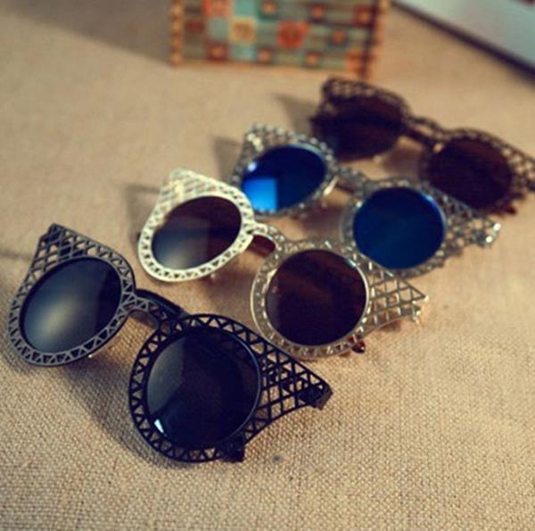 50%OFF【J003741Gls】千頌伊同款墨鏡復古網格鏤空太陽眼鏡 附眼鏡盒 防紫外線 明星款 反光鏡面