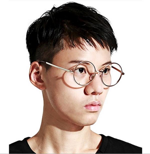 50%OFF【J004199Gls】原宿款金屬復古圓框眼鏡框 附眼鏡盒 防紫外線 明星款 反光鏡面