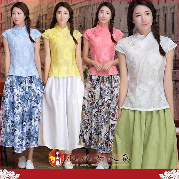 【水水女人國】~中國風美穿在身~紡紗(四色)。復古手工鴛鴦花扣縷空錦棉改良短袖旗袍式唐裝上衣
