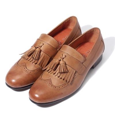 懶人鞋真皮雕花休閒鞋-復古流蘇套腳做舊男鞋4色73kv81【獨家進口】【米蘭精品】