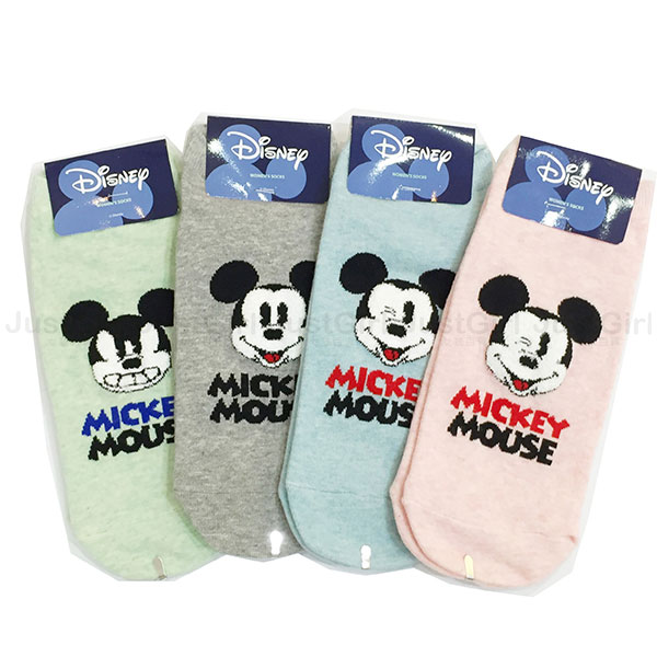 迪士尼 米奇 襪子 短襪 船型襪 表情 微立體絨毛臉 藍 粉 灰 綠 正版韓國進口 * JustGirl *