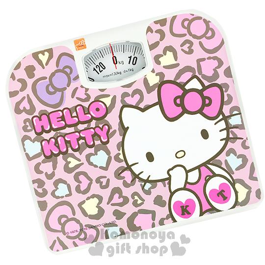 〔小禮堂〕Hello Kitty 體重計《粉.豹紋.坐姿.蝴蝶結》輕鬆維持身材
