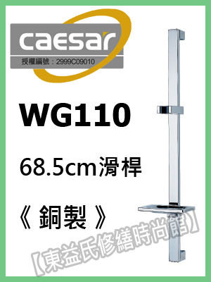 【東益氏】CAESAR凱撒精品衛浴WG-110方型銅製滑桿 另售淋浴柱 花灑 蓮蓬頭 面盆龍頭