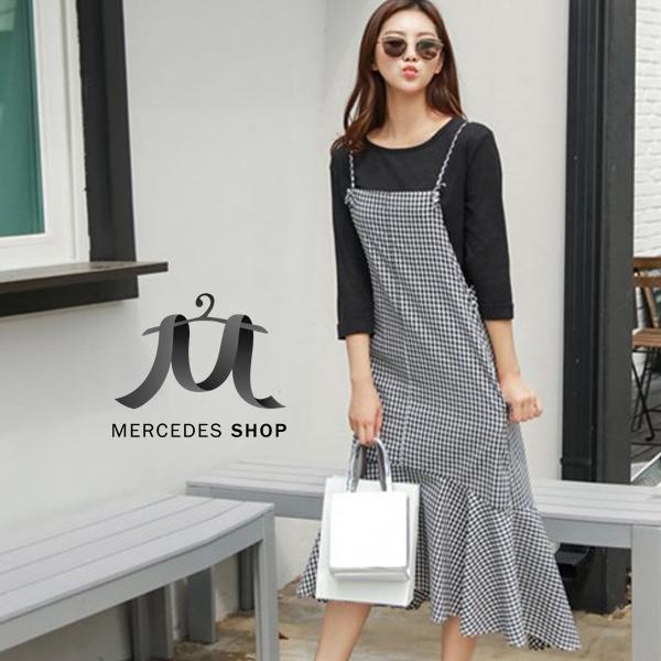 [全店7折] 吊帶小方格荷葉邊魚尾連身裙-M-XL - 梅西蒂絲