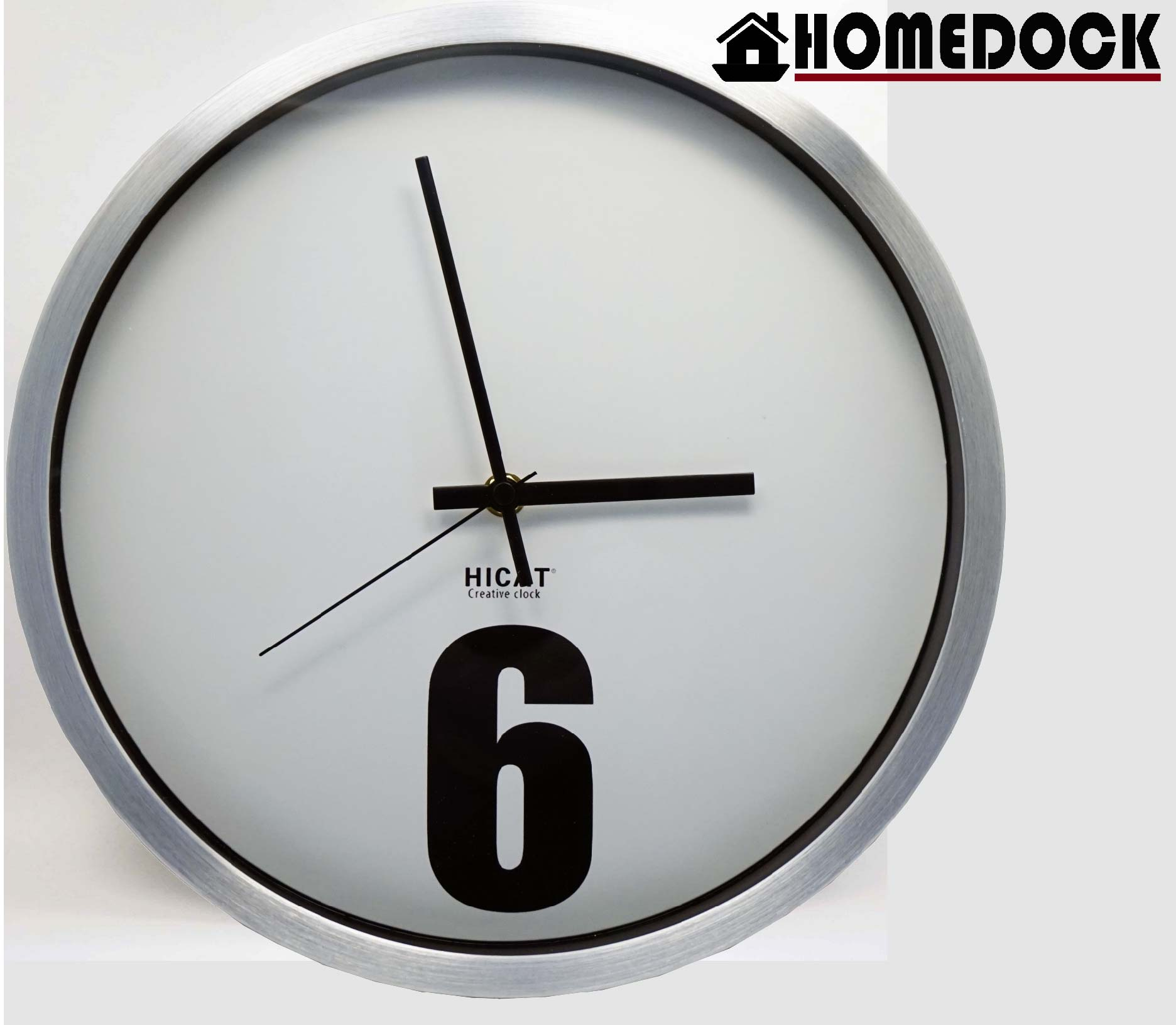 HOMEDOCK-簡約數字6靜音壁鐘(銀)