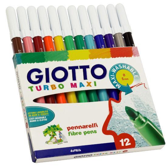 【淘氣寶寶】【義大利 GIOTTO】2016新款 可洗式兒童安全彩色筆(12色)
