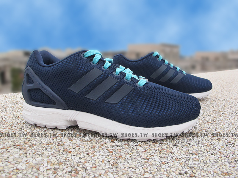 Shoestw【S78971】ADIDAS ORIGINALS ZX FLUX 編織 深藍 透氣網布 女款