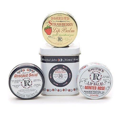【彤彤小舖】 Smith's Rosebud Salve 玫瑰花蕾膏 /薄荷玫瑰護唇膏 / 草莓護脣膏.三件禮盒組