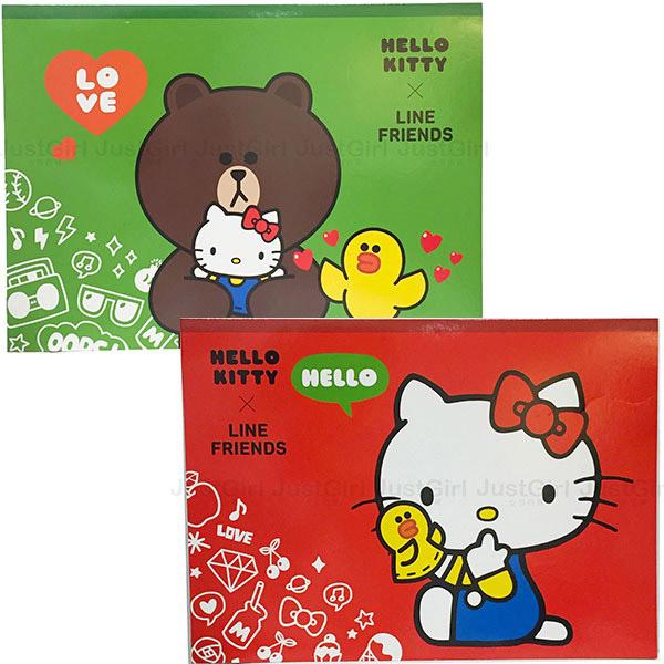 LINE 熊大莎莉 HELLO KITTY 圖畫本 圖畫紙 繪圖本 空白加厚 12張 文具 台灣製造 JustGirl