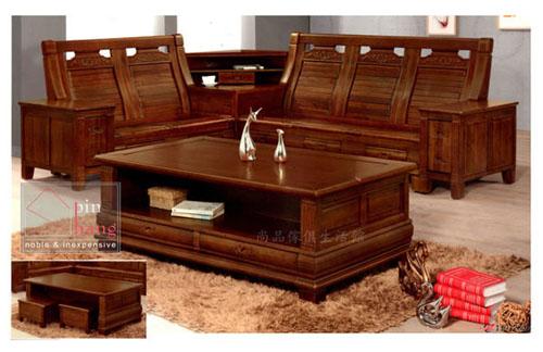 【尚品傢俱】 213-04 絲路蓮 L型木組椅(2+3+大茶几+角櫃)