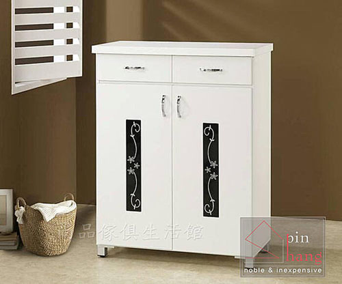 【尚品傢俱】243-03 花樣3尺白色鞋櫃/二抽鞋櫃/雙開門鞋櫃