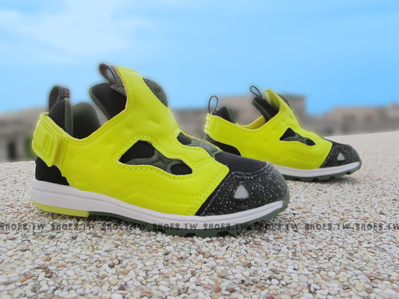 Shoestw【AR0713】Reebok Pump Fury 小童鞋 墨綠潑墨 襪套 黏帶 小童