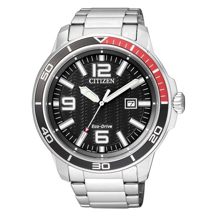 CITIZEN星辰AW1520-51E黑紅潛水光動能腕錶/黑面45mm