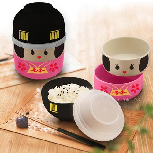 日本娃娃造型點心碗便當盒(附束帶)
