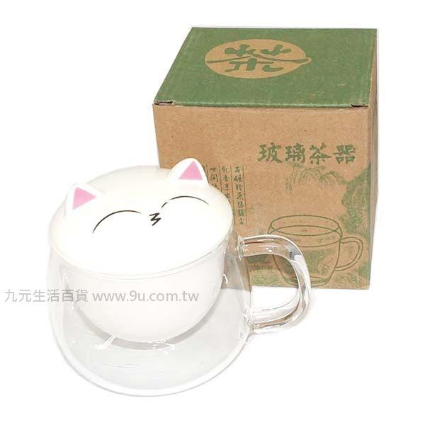 【九元生活百貨】微笑貓濾茶杯 沖茶杯 玻璃杯