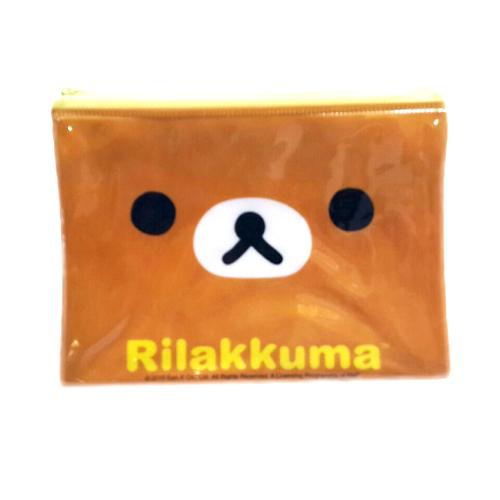 【真愛日本】15091900012拉鍊化妝包-懶熊大臉  SAN-X 懶熊 奶妹 奶熊 拉拉熊  化妝包  萬用包  收納包