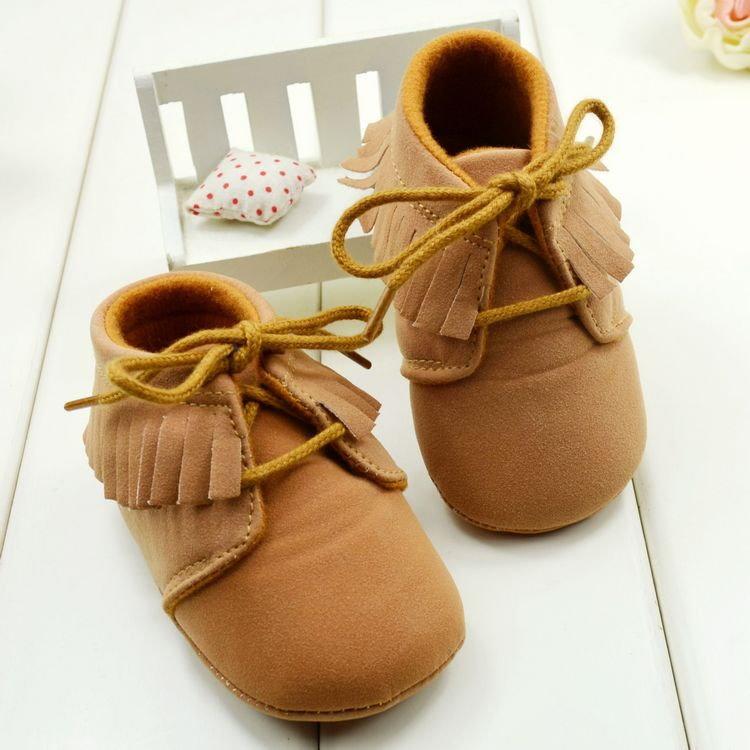 冬季流蘇靴嬰兒鞋男女寶寶學步鞋繫帶反毛皮休閒鞋軟底-棕色