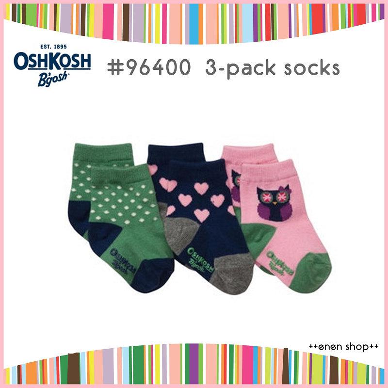 Enen Shop @OshKosh B'gosh 貓頭鷹/愛心針織襪三件組 ∥ 3M-12M/12M-24M